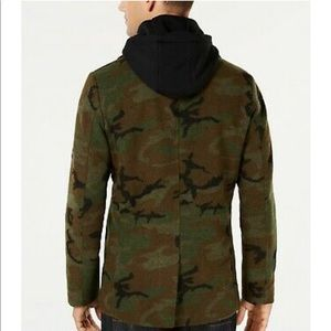 AMERICAN RAG Men GREEN CAMO WOOL COAT